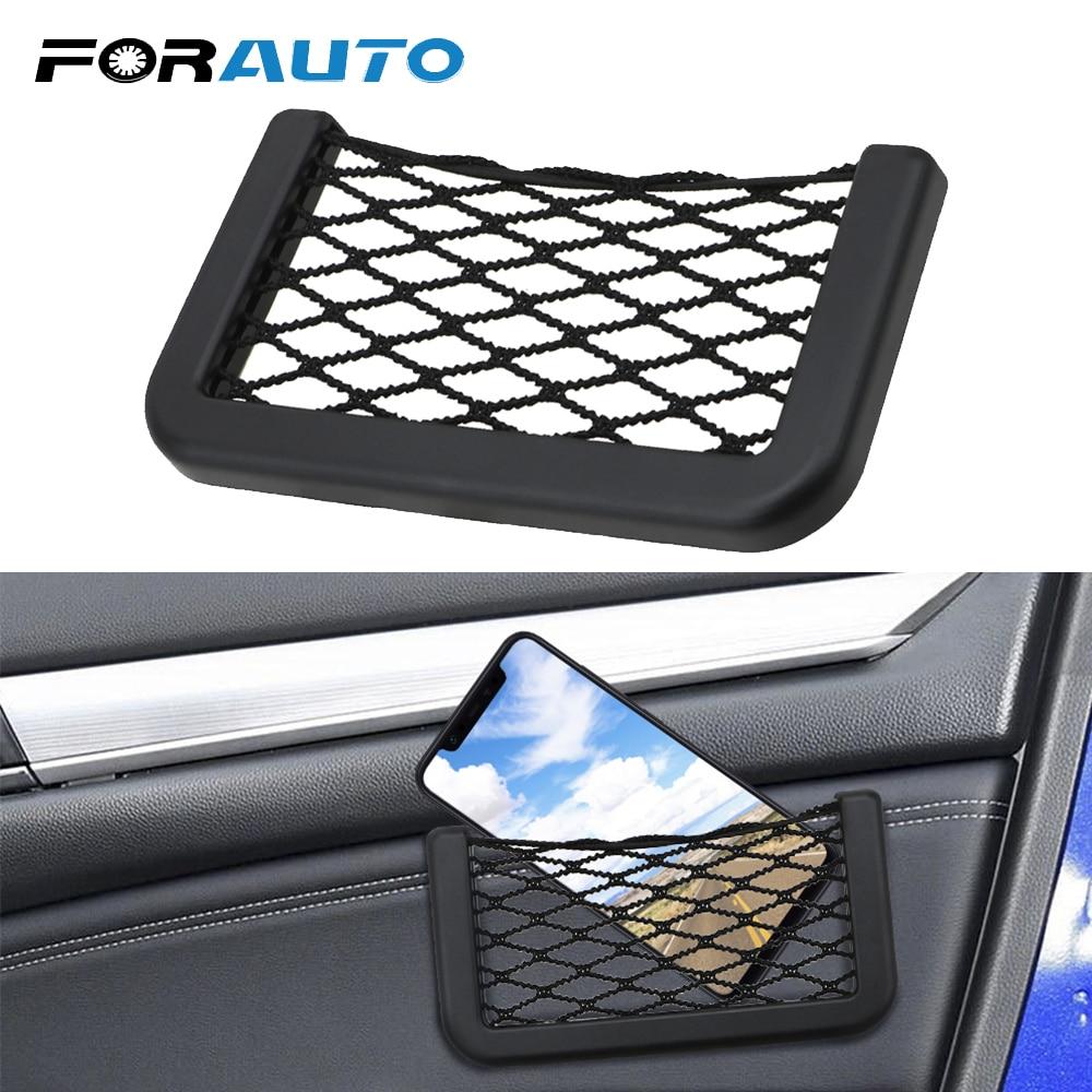 FORAUTO Car Storage Net Organizer Bag Car Seat Storage Bag Pocket Auto Mobile Phone Holder Pouch Car-Styling Adhesive Visor Box