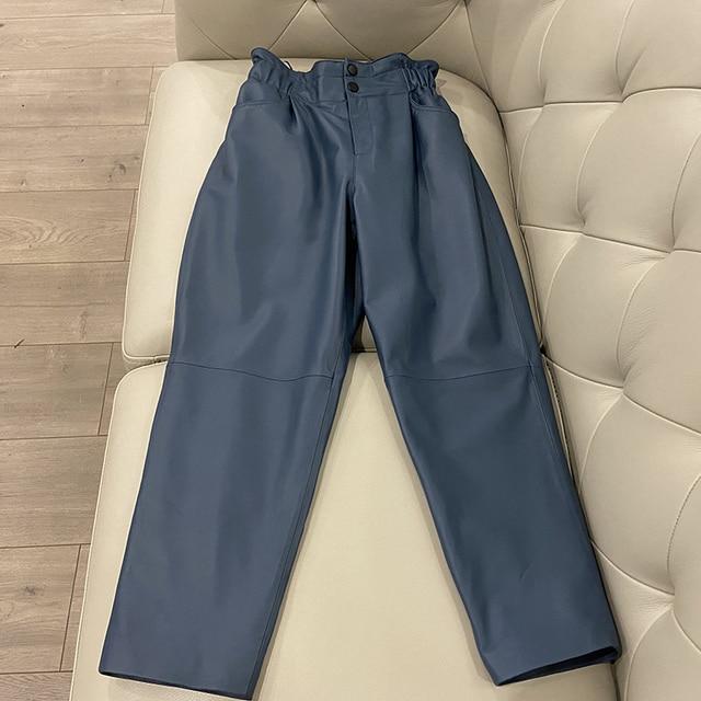 Genuine leather pants women winter 2020 new fashion elastic high waist pants women plus size  harem pants casual trouser female 5