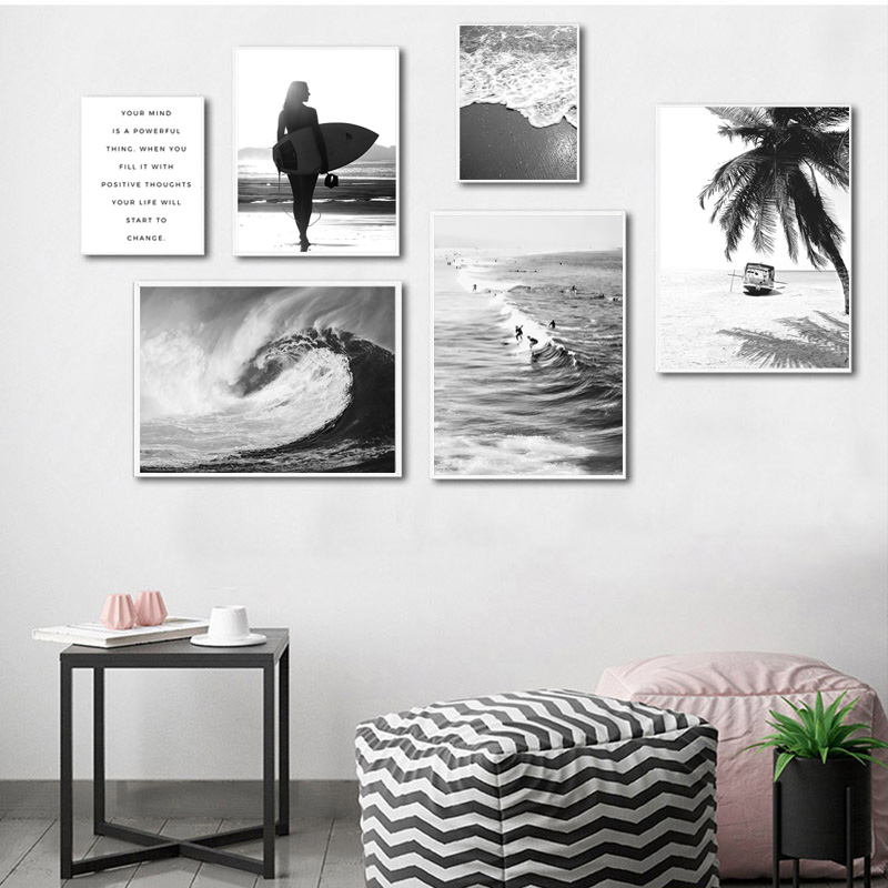 Black White Sea Wave Nature Landscape Canvas Nordic Positive Live Poster Wall Art Print Painting Pictures For Living Room