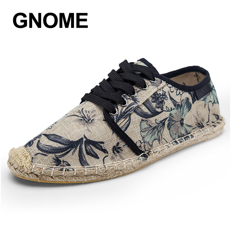 GNOME Mens Shoes Footwear Canvas Hemp Breathable Summer Lace-Up Loafers Zapatos Hombre