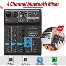 وحدة تحكم DJ لمزج الصوت مزودة بـ 4 قنوات احترافية بخاصية البلوتوث مع تأثير عكسي للمنزل كاريوكي USB مرحلة كاريوكي KTV