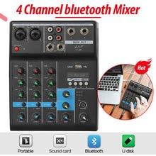 Professionale 4 Canali bluetooth Audio Mixer di Miscelazione DJ Console con Effetto di Riverbero per la Casa Karaoke USB Stage Karaoke KTV