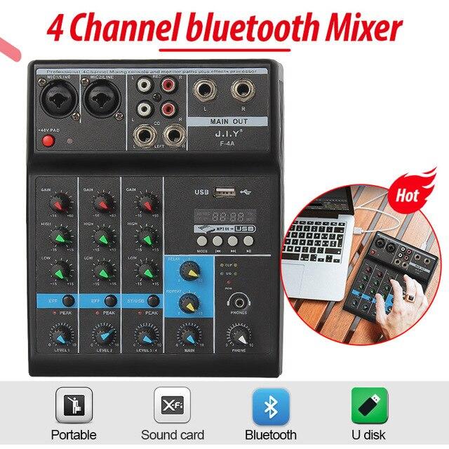 pioneer dj Professionele 4 Kanaals Bluetooth Mixer Audio Mixing Dj Console Met Reverb Effect Voor Thuis Karaoke Usb Stage Karaoke Ktv