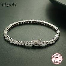 Bracelet de Tennis en argent pur de 16-20.5CM, 2-4mm 5A CZ, cadeau éternel pour femme, bijoux magnifiques, 925