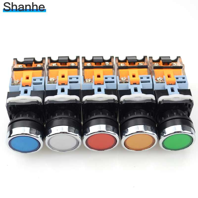 Светодиодный светильник с индикатором 22 мм кнопочный переключатель 12V 24V 220V 380V