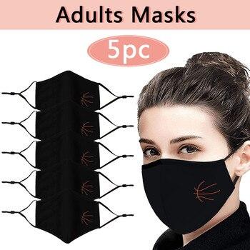 1/3/5pcs Cotton Mouth Facial Mask Black Anti-dust Reusable Mask Washable Mascarillas Face Shield Masque Flu Proof Mask