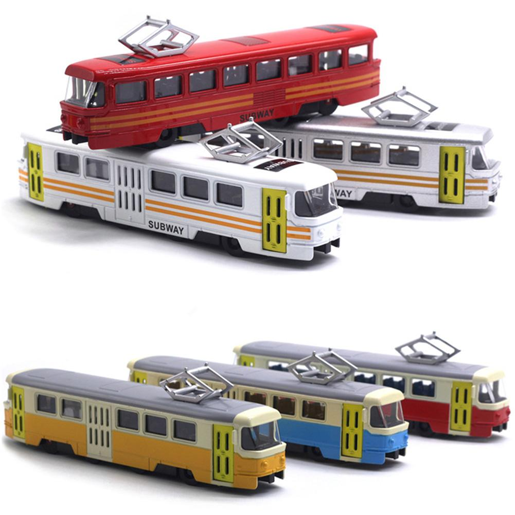 Kids Train Model Toy Classic Train Tram Diecast Pull Back Model with LED Music Developmental Educational Toy Gift(China)