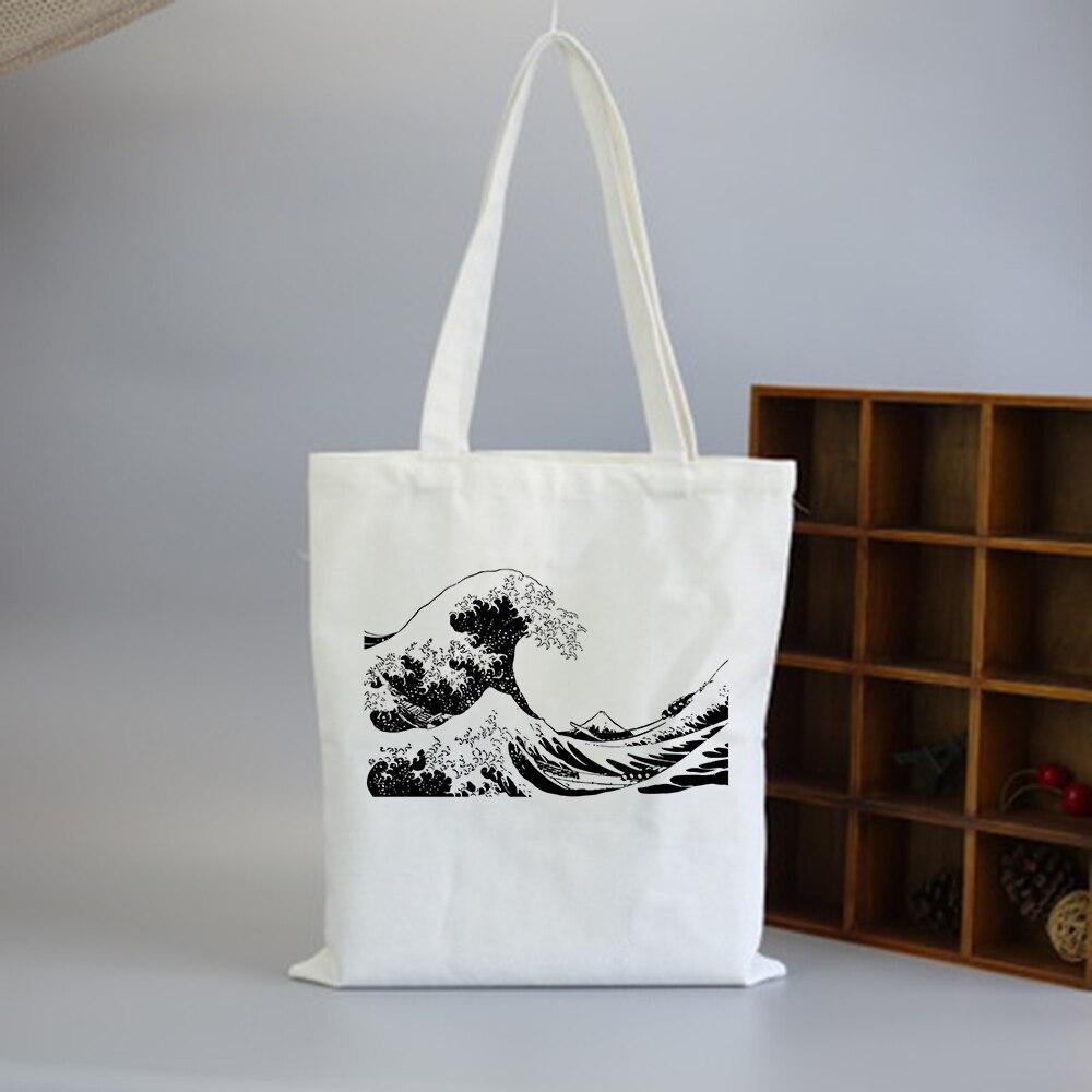 Japan Wave Fun Print Casual Large Capacity Canvas Bag Female Shoulder Bag Fashion Harajuku Ulzzang College Messenger Bags