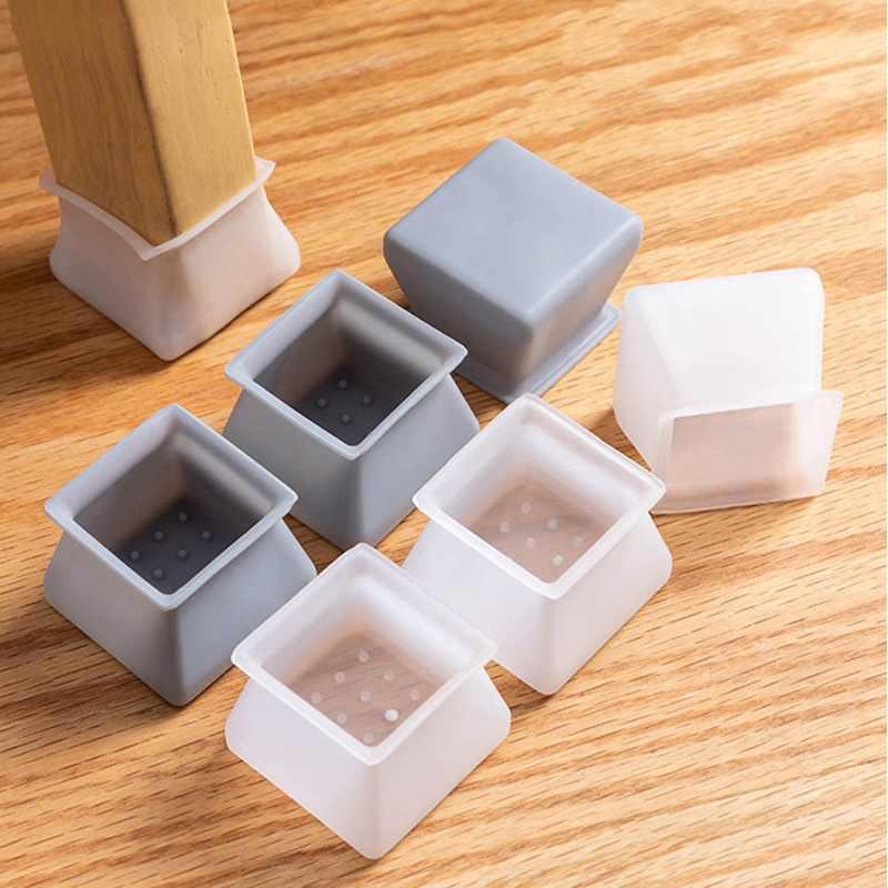 16PCS Silla de mesa Pata Tapa de silicona Almohadilla Muebles Pies de mesa Cubierta Protector de piso Protectores de muebles Copas antideslizantes de fondo cuadrado Estados Unidos