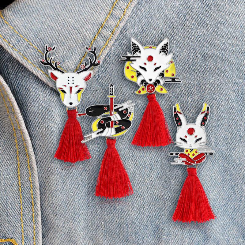 Emalia Red Kendo Sika Fox z pomponem-Deer królik wąż osobiste zwierząt broszka dla mężczyzn kobiety prezent dla przyjaciela-sweter plecak