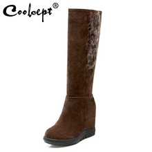 Coolcept Size 33-43 Women High Wedges Boots Half Short Boots Inside Heel Cold Winter Shoes Thick Fur Botas For Women Footwears цены онлайн