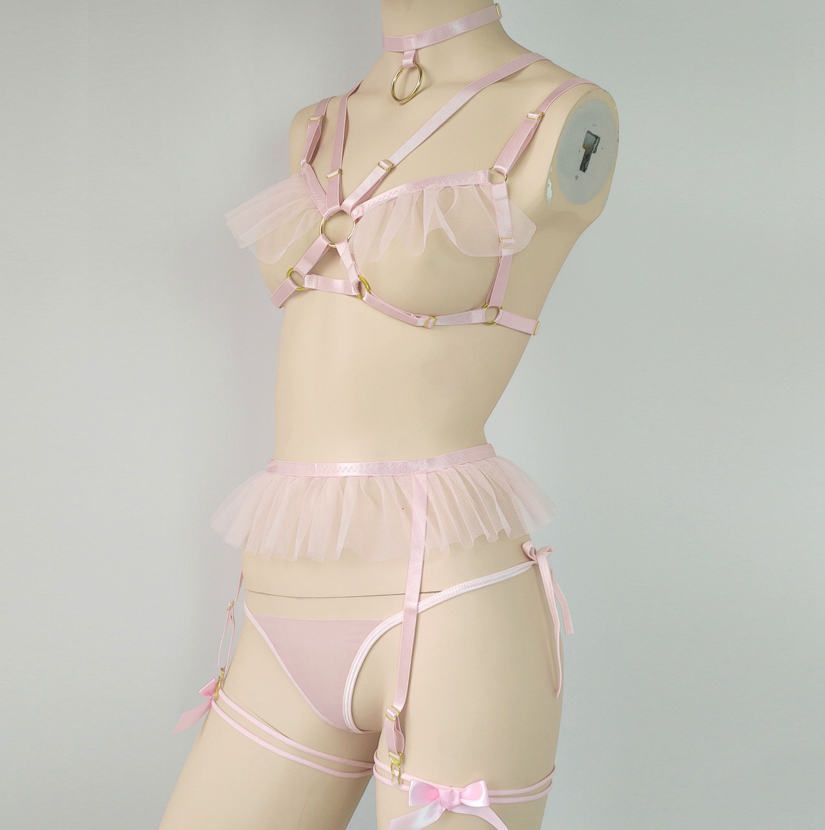 Leather Harness 5 Piece Set Ruffle Garters Belts Sexy Women Waist To Leg Bondage Cage Straps Bra Garter Body Belts Chest