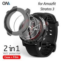 Funda protectora 2 + 1 para reloj inteligente Huami Amazfit stratos 3, funda protectora suave de TPU con película de vidrio templado
