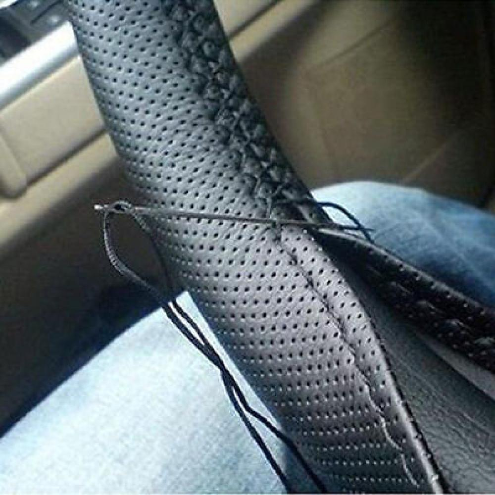 DIY Steering Wheel Covers Faux Leather Soft Car Steering Wheel Cover with Needles and Thread Interior accessories