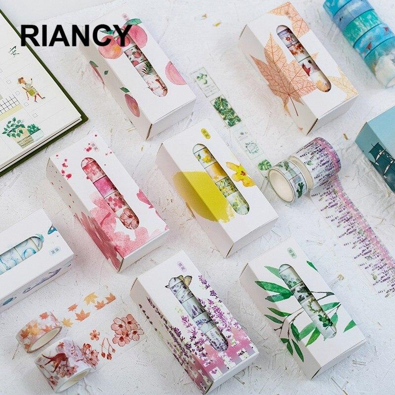 5pcs/lot Flower Foil DIY Decoration Washi Tape Scrapbooking Masking Tape Stickers Scrapbooking Washitape Washy Tape 024028