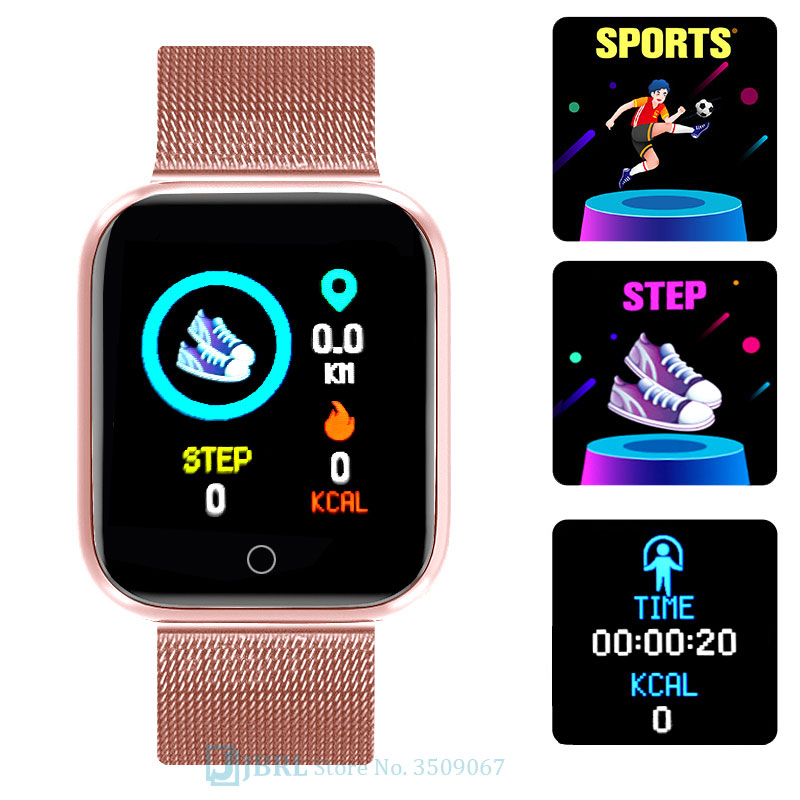 Lesfit rose montre intelligente femmes hommes Smartwatch pour Android IOS Bluetooth bracelet en acier montre intelligente montre électronique Fitness Tracker 2