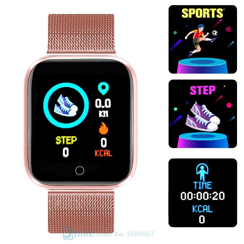 Lesfit rose montre intelligente femmes hommes Smartwatch pour Android IOS Bluetooth bracelet en acier montre intelligente montre électronique Fitness Tracker 2