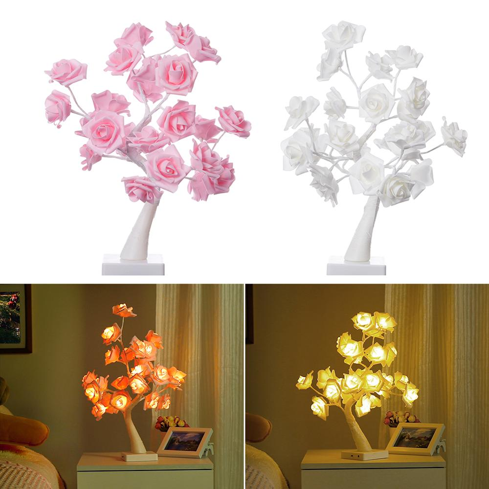 Two Modes Rose Flower Table Tree Table Lamp Gift For Girls And Wedding Family Decoration Christmas Party With 24 LED Lights