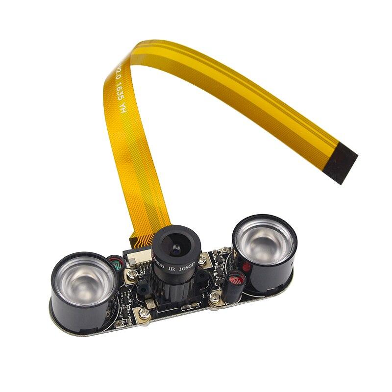 Raspberry Pi 4 Camera Module Night Vision OV5647 5MP Adjustable Focal Camera + 2 Infrared Sensor LED Lights  For RPI 4 3 Zero W