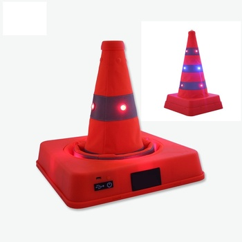 41cm High Retractable Foldable Double Warning LED Safety Road Cone Barrier Expansion Cone USB Charging Reflective Traffic Cones цена 2017