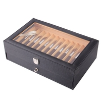 24 Pen Fountain Wood Display Case Holder Wooden Pen Box Storage Collector Organizer Box