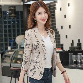 2021 New Autumn Women Printed Blazer Retro Style Slim Suit Outerwear Black Wine Red Women Long Sleeve One Button Ladies Jackets 1