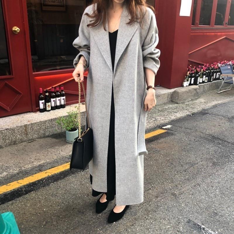 Ha8aec3a95ec74582a5792cdcdbdc279ew Winter Fashion Coats Women Wool-blend Coat Lazy Oaf Long Chunky Warm Coat Western Style Fitted Waist Lace-up Loose Coat