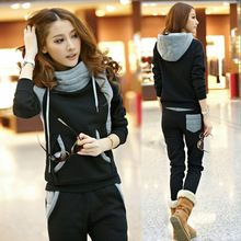Cotton Polyester Lady Fall and Winter 2 Piece Suit Outdoor Ladies Hoodie Slim Warm Street + Haren Pants