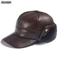 SILOQIN Quality Genuine Leather Hat Winter Fashion Cowhide Thermal Baseball Cap For Men Thick Velvet Earmuffs Caps New Dad Hats