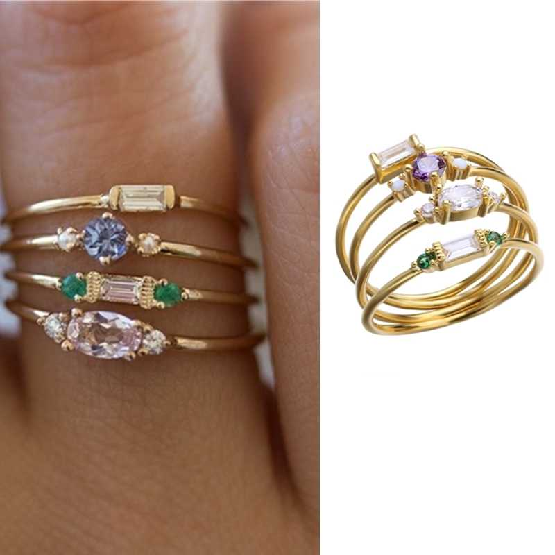 4 Pcs/set Stackable Crystal Zircon Gold Ring Set Bohemian Vintage Women Engagement Party Knuckle Boho Jewelry Ring Set