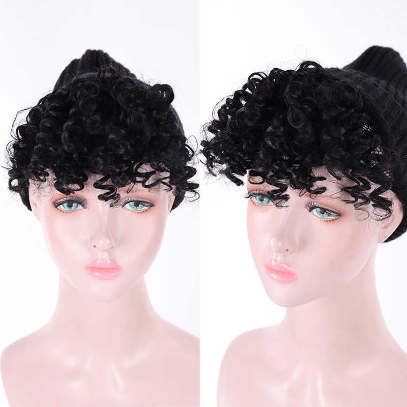 Aosi Afro Kinky Krullend Bang Voor Zwart Wit Vrouw Nep Fringe Clips In Pony Pruik Haar Natuurlijke Zwart Synthetisch Haar extension