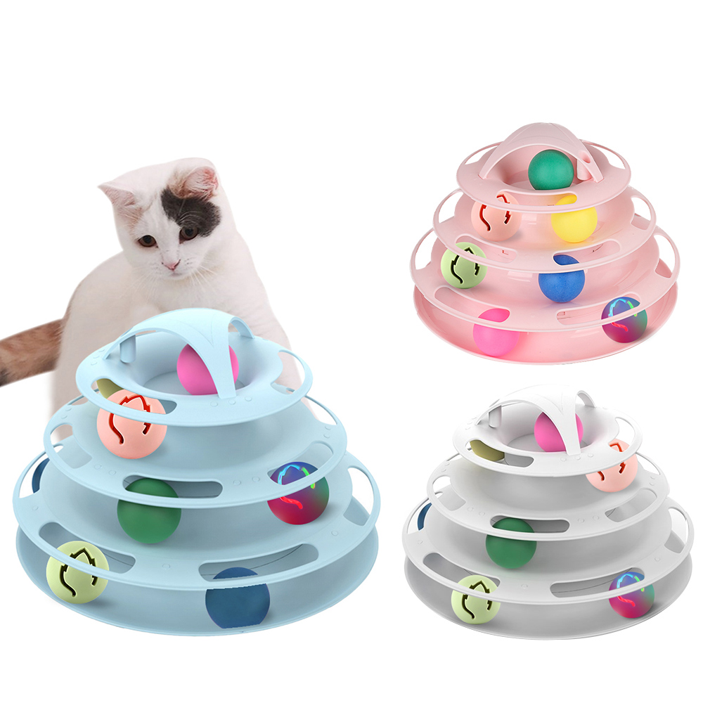 Three Levels Pet Cat Track Toy Interactive Balls Cat Toy Tower Disc Tracks Training Toy Amusement Plate Cat Supplies
