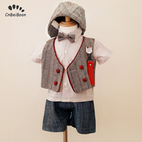 Baby Newborn boys clothing sets tie bow vest shirts +pants+hats gentleman suits kids 1st birthday party dress 100 Days Memory