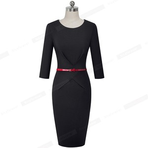 Image 4 - Nice forever Elegant Brief Solid Color Office vestidos Business Work Party Women Bodycon Autumn Dress B552