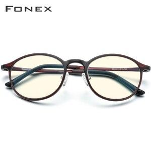 Image 3 - FONEX Ultem TR90 Anti lumière bleue lunettes hommes lunettes lunettes lunettes femmes Antiblue ordinateur de jeu lunettes AB04
