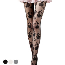 Women Nylons Lady Sexy Tight Rose Pattern Pantyhose Collant See-through Stockings Medias Irrompibles Wholesale