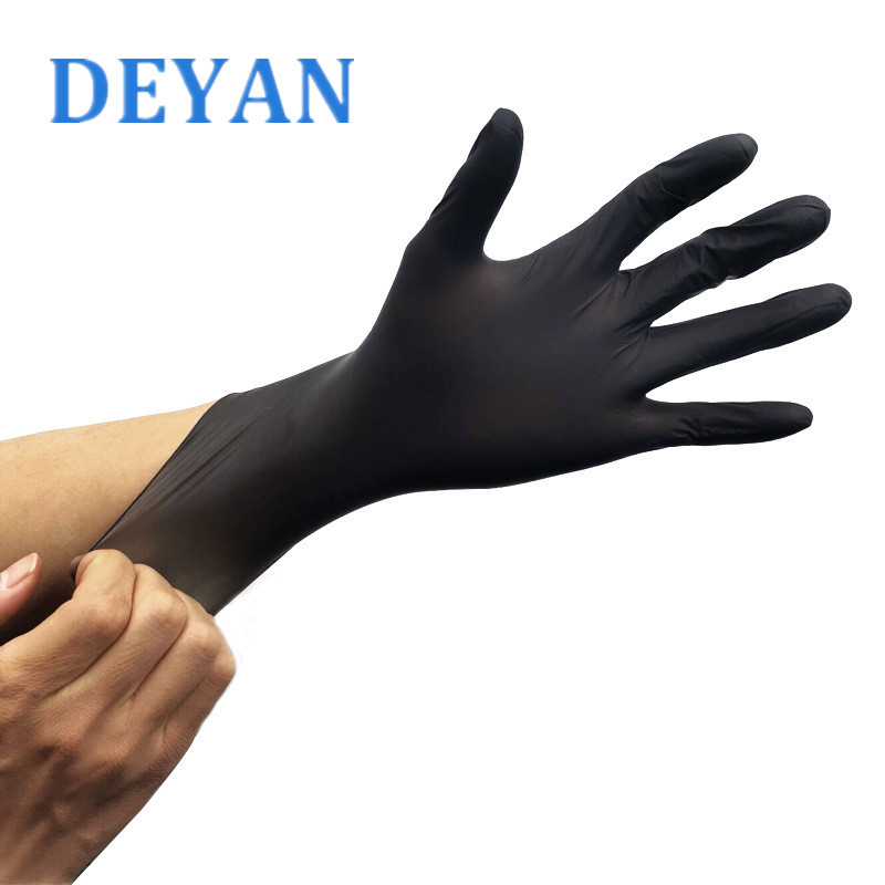 6 Pcs/Lot Black Nitrile Gloves Allergy Free Disposable Work Safety Gloves Industrial Tattoo Mechanic Nitrile Gloves