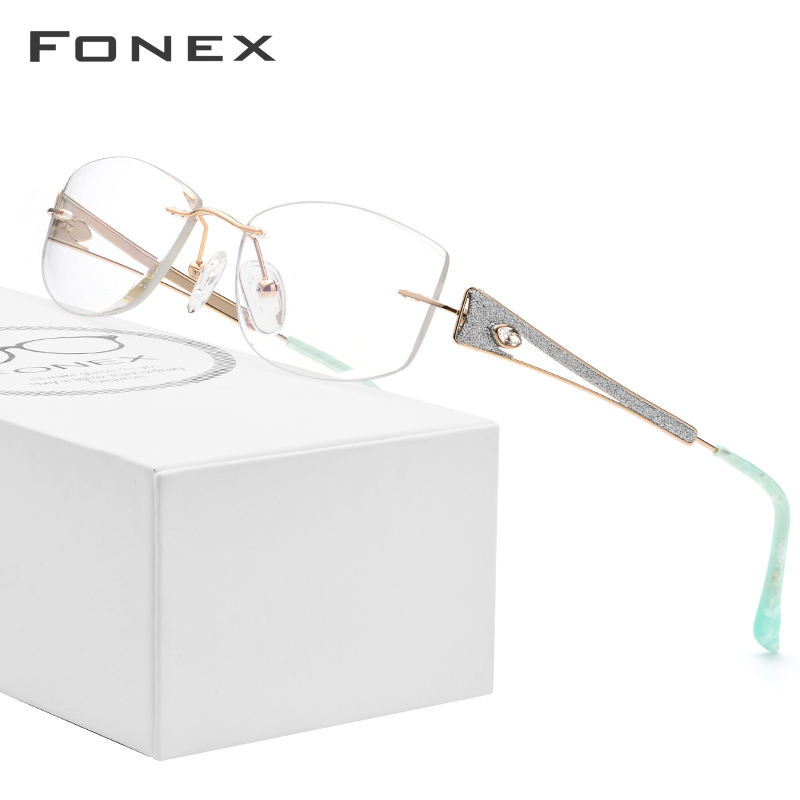 FONEX Wire Titanium Rimless Glasses Women Ultralight Luxury Crystal Trim Diamond Prescription Optical Eyeglasses Eyewear 974