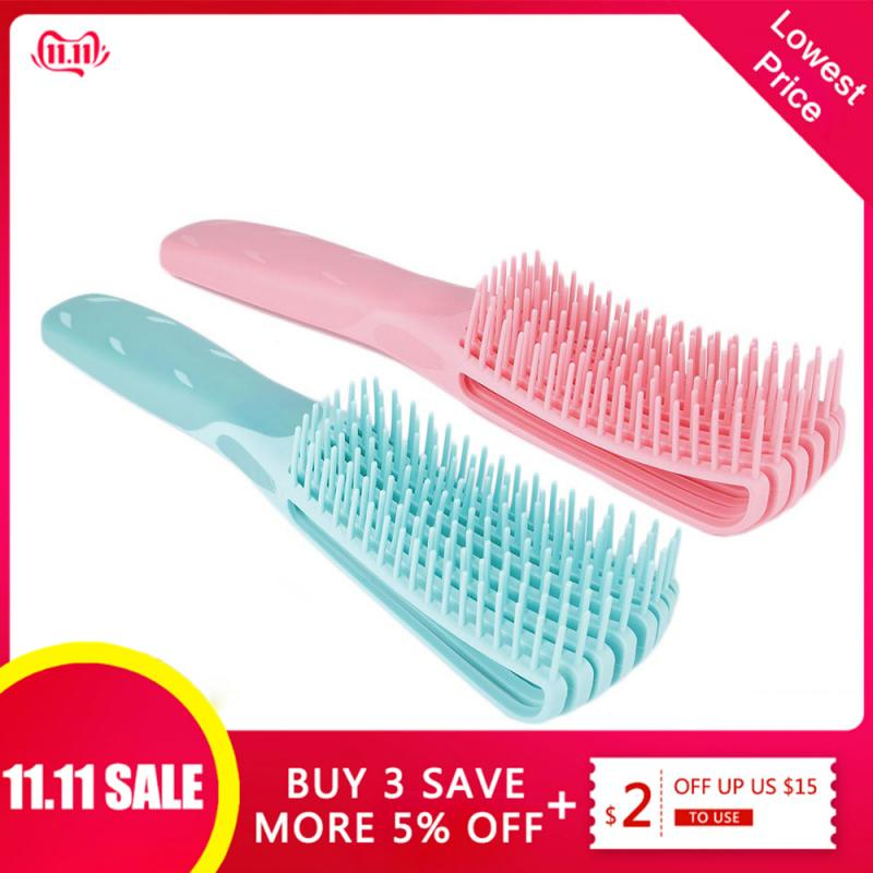 ELECOOL Green/Pink Hair Brush Scalp Massage Comb Women Detangle Hairbrush Comb Hairdressing Salon Health Care Reduce Fatigue