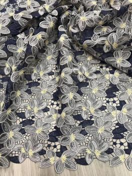 Small flower fashion Milk silk water-soluble embroidered lace fabric for summer dress telas por metros tissu au metre  HF216-13