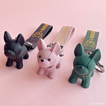 2021 New Cartoon French Bulldog Dog Keychain Cute Doll Key Chain For Woman/Men/Kids Creative Couple Ins Bag Pendant Car Key Ring