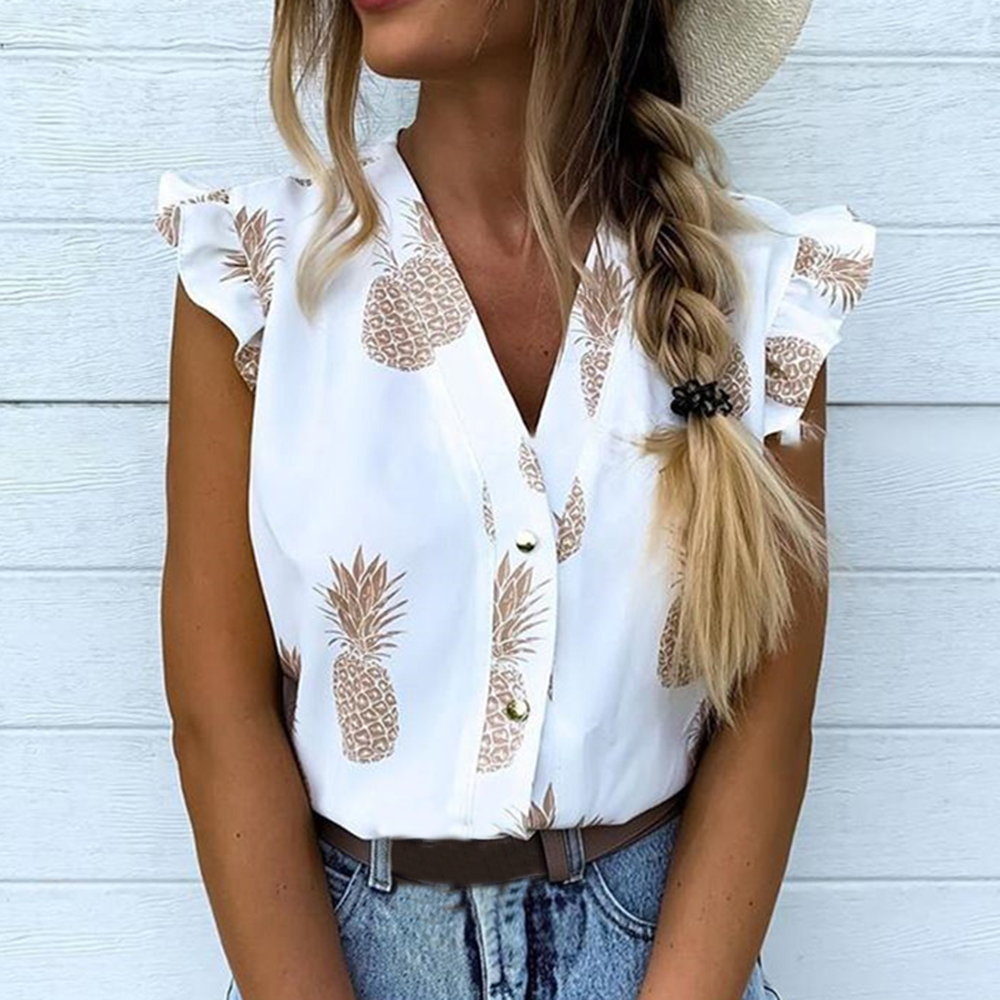 Puimentiua 2020 Summer Women Vacation Leisure Top Female Holiday Girls Sweet Shirt Pineapple Print Flutter Sleeve Casual Blouse