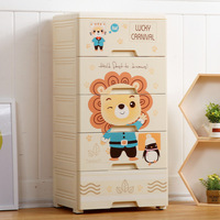 Large Size Thick Cartoon Drawer type Storage Cabinets Plastic Baby Wardrobe Infant Cabinet Finishing CHILDREN'S Toy Storage Box