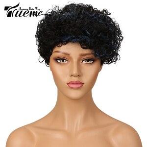 Image 1 - Trueme Mode Krullend Wave Menselijk Haar Pruiken Voor Vrouwen Braziliaanse Remy Haar Pruik Dames Krullend Pixie Korte Haar Volledige Pruiken groothandel