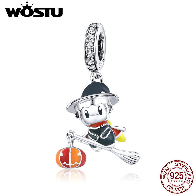 WOSTU Magic Witch Pendant 925 Sterling Silver Broom Witch Beads Charms For Necklaces DIY Jewelry Making Accessories CTC240