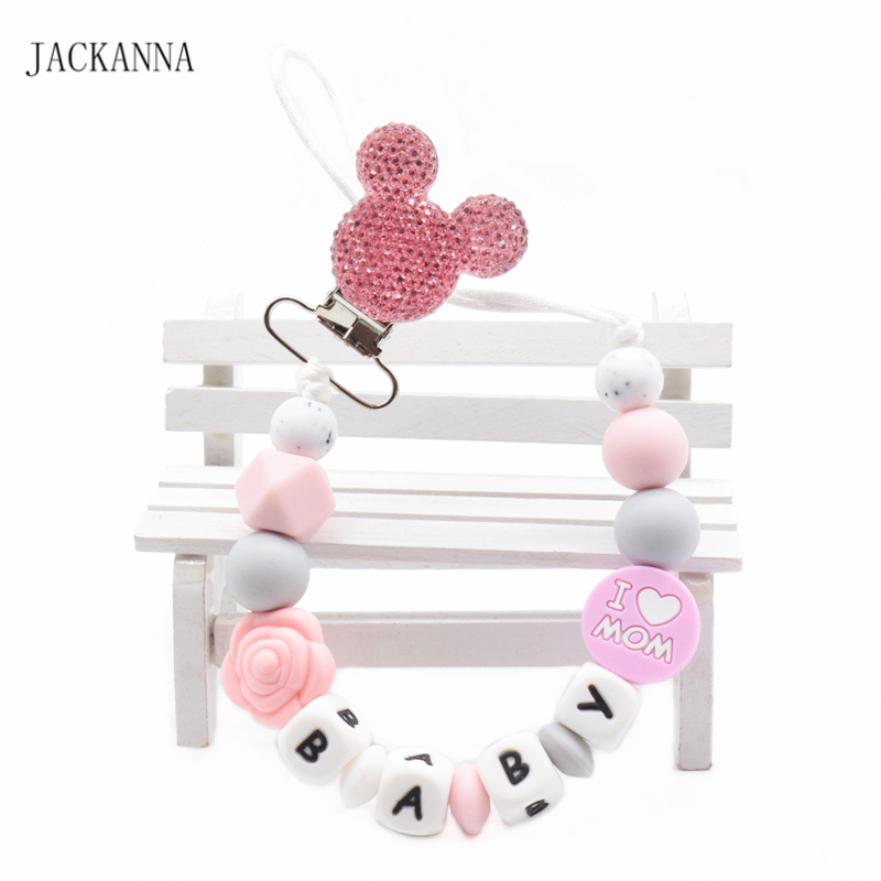 Customized Name Baby Pacifier Clips Mouse Head Dummy Chain Newborn Baby Teething Chain Shower Gifts Baby Pacifier Holder Chain