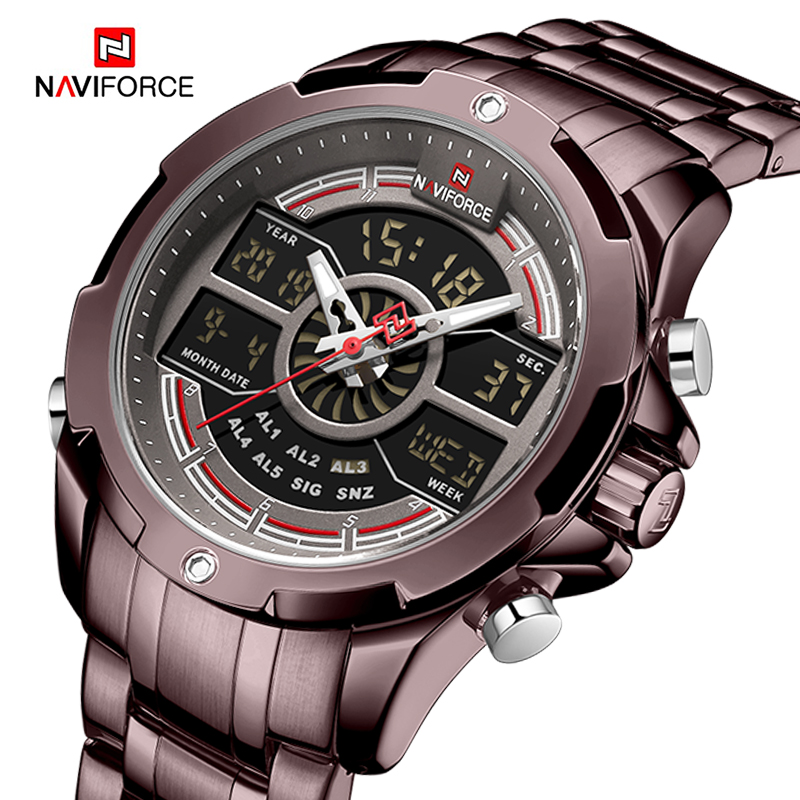 Image 2 - NAVIFORCE Luxury Mens Sport Watch Brand Military Waterproof BackLight Digital Quartz Wrist watches Men Clock Relogio Masculino-in Quartz Watches from Watches
