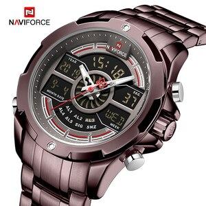 Image 1 - NAVIFORCE reloj deportivo de lujo para hombre, cronógrafo militar, resistente al agua, con retroiluminación, de cuarzo Digital, Masculino