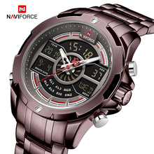 Naviforce relógio masculino, relógio esportivo de luxo de marca militar à prova d água relógio de fundo digital de quartzo relógios de pulso homens relógio masculino