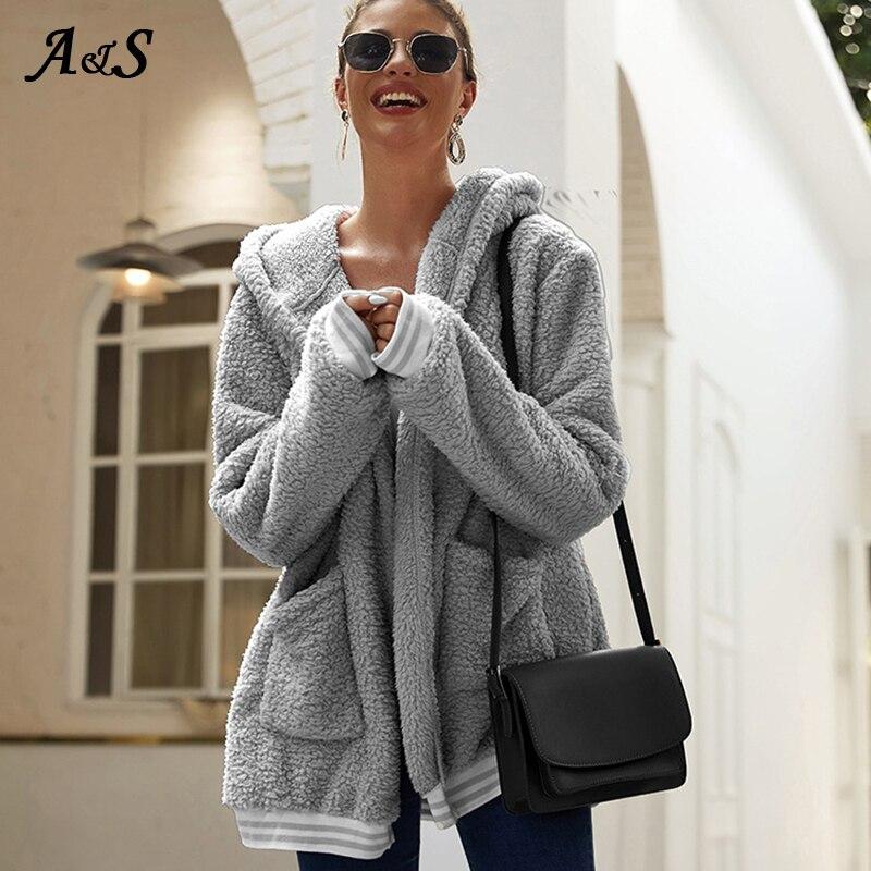 Купить anbenser свободное повседневное шерстяное пальто с шапкой длинная